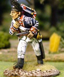 Drummer, drum slung on back crouching down walking, with pistol in hand.