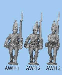 March Attack head forward, right hand also on musket