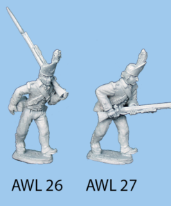 Advancing holding musket pointed forward