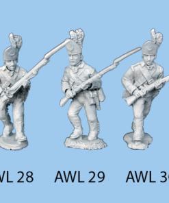 Advancing holding musket right leg forward