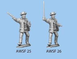 Standing sword in one hand and pistol in other (round hat)