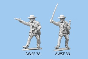 Standing sword in one hand and pistol as club in other hand in floppy hat