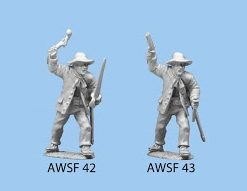Advancing with pistol overhead and knife in other hand floppy hat