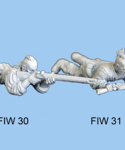 Lying down holding musket in both hands
