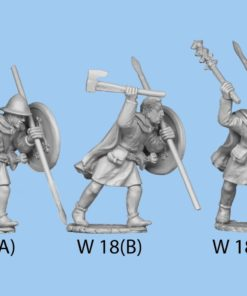 Advancing with club variant in one hand & javelin in the other, wearing cloak.