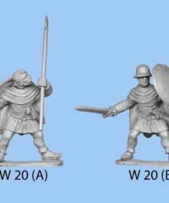 Fighting with sword, wearing cloak.